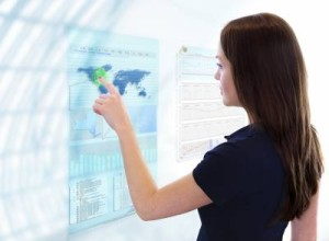 woman pressing globe on screen image